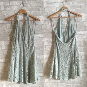 Mint lace halter dress